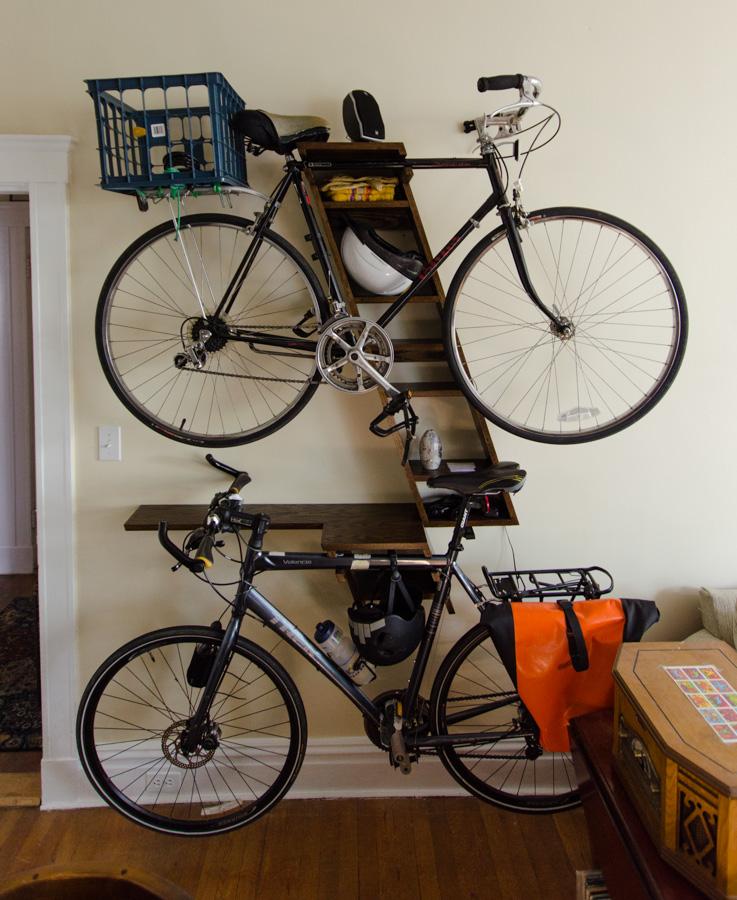 bike shelves, front