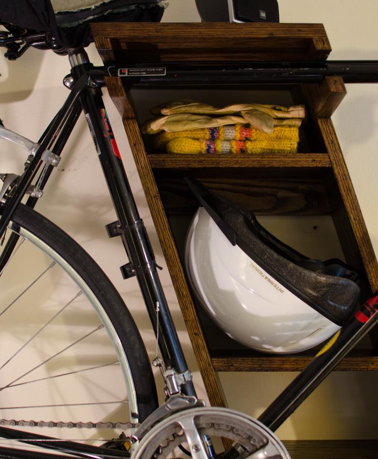 bike shelves, detail