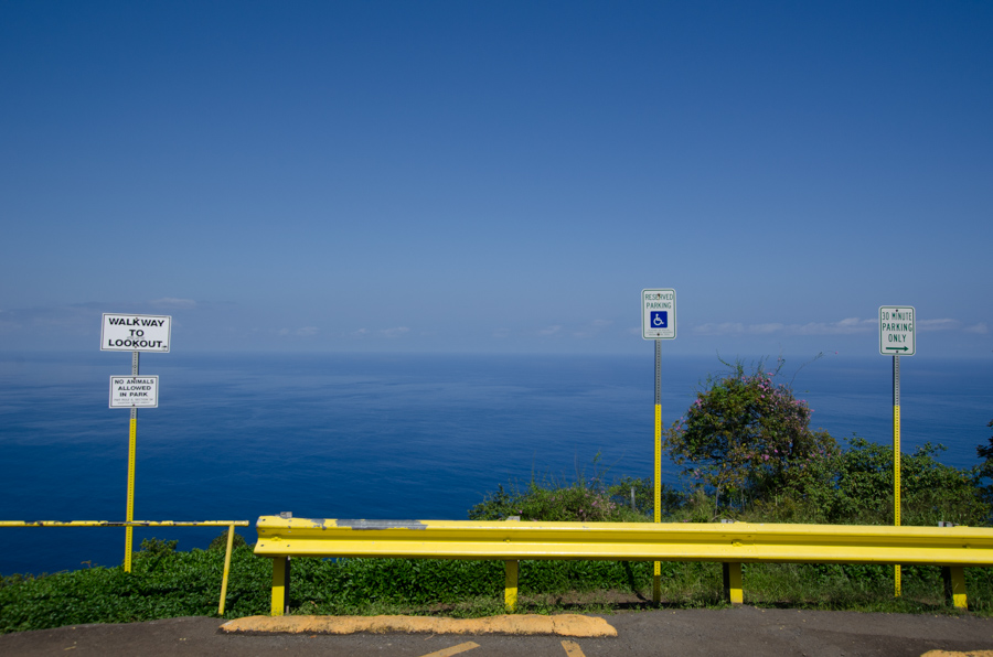 lookout with signs