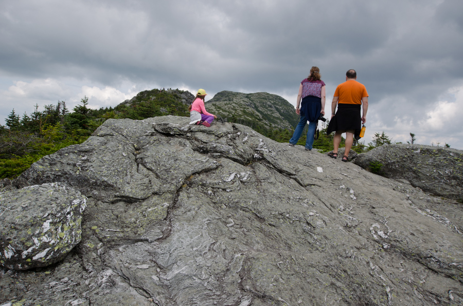 group looking away on rock