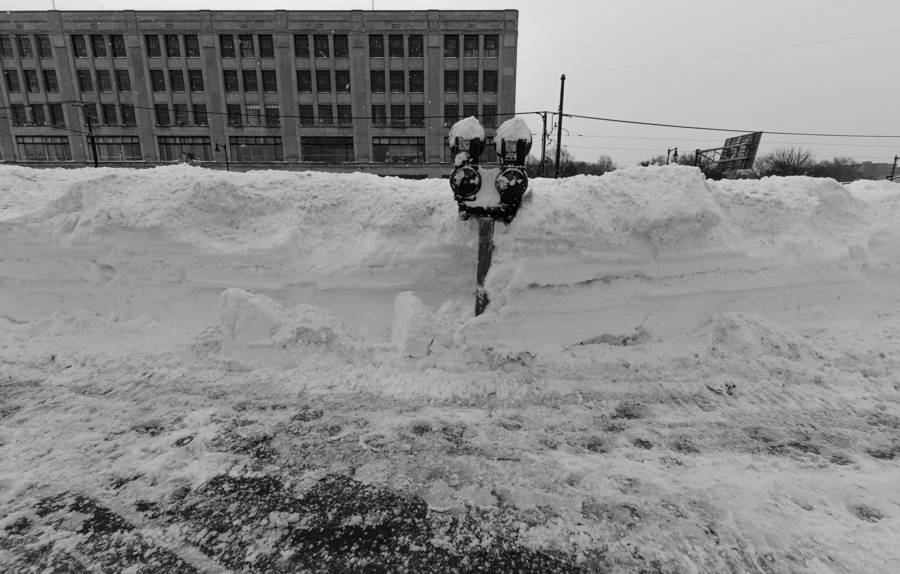 snow bank with meter