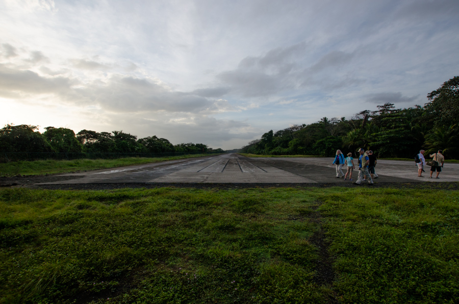 runway with tourists